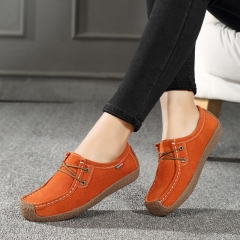 Comfortable   Loafers Women Suede Leather Flat Platform Ladies Elegant Shoes Woman Women Casual orange 35