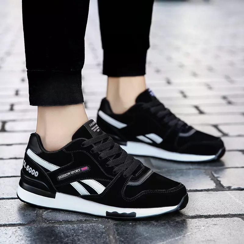 check out 53e48 5e88a Sport shoes in solid color with lace screen Air-cushioned trend sneaker  39-44 sports code black 43