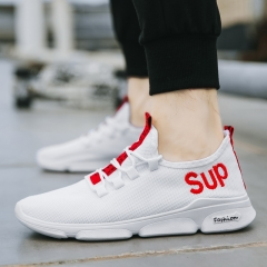 Fashion Men Breathable Mesh Shoes Network Casual sneakers white red 39