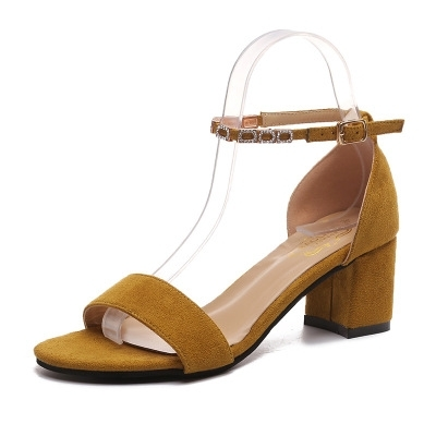e65023e54d8 Suede summer shoes woman gladiator sandals thick high heels sexy ...