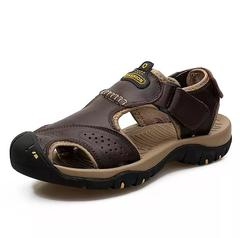 Genuine Split Leather Men Beach Sandals Brand Men Casual Shoes Flip Flops Men Slippers Sneakers brown 38