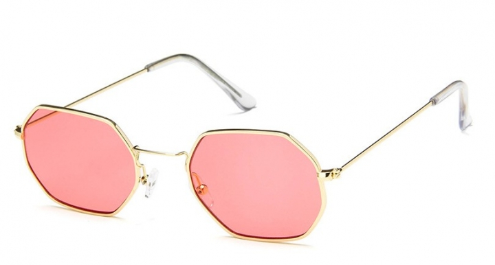 33123a9204a Fashion Women Sunglasses Small frame polygon Clear lens Sunglasses Designer  Hexagon Metal Frame red one size