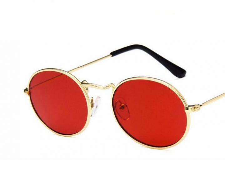 b297184f03 Luxury Retro Small Metal Frame Steampunk Sunglasses Women Vintage Oval Sun Glasses  Vintage Mirror red one