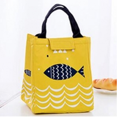 Waterproof Oxford Tote Lunch Bag Large Capacity Thermal Food Picnic Lunch Bags for Women kid Men yellow 19.5×17×23.5 cm
