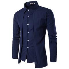 Molly Shop Men Fashion Design Solid Color Slim Double Front Shirt Long-Sleeve Business Official Wear navy blue l