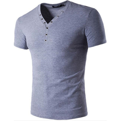 Hot Summer wear Men's T-shirt Fashion Cotton V-Neck Button on Casual men's short sleeve T-shirt light grey xxl cotton