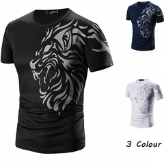 Molly Shop Men Casual Tattoo Printing T-Shirts Male O-Neck Short-Sleeved Slim Fashion Tees Tops black m cotton&polyester