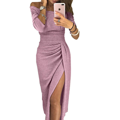 Molly Shop Women Sexy High Split Bodycon Tinsel Dress Ladies Off-Shoulder Long-Sleeved Evening Dress 3xl pink