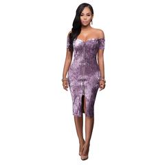 Molly Shop Women Sexy Off-Shoulder Diamond Velvet Bodycon Zipper Dress Short-Sleeved Pencil Dress xl purple