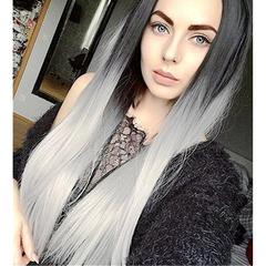 Molly Shop Black Women Fashion Gradient Long Straight Hair Wigs High Temperature Fiber Wigs black+white 24 inch