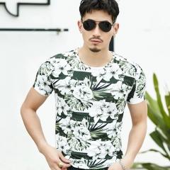 Men's T-shirt men's wear, printed men's short sleeves, casual, fashion, clothing 01 m polyester fibre