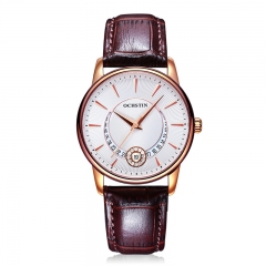 OCHSTIN Ladies  Watches Waterproof Leather Bracelet Watch Women Sapphire Quartz Wrist Watch white rose gold brown