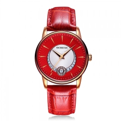 OCHSTIN Ladies  Watches Waterproof Leather Bracelet Watch Women Sapphire Quartz Wrist Watch red rose gold red