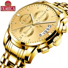 OLMECA Men Watch Luxury Watches 3ATM Waterproof Clock Chronograph  Stainless Steel Band & Leather whole gold one size