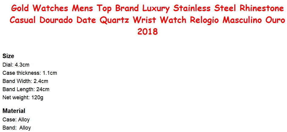 f18e84ab0a Mens Watches Fashion Luxury Diamond Brand Date Quartz Watch Men Gold  Stainless Steel Business Watch rose gold one size
