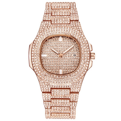 Mens Watches Fashion Luxury Diamond Brand Date Quartz Watch Men Gold Stainless Steel Business Watch rose gold one size