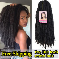 African dirty braided wig marley braids afro kinky curly hair twist braid Multiple colors available 1# 18inch