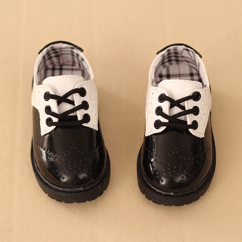 db1b186cfad39 2018 Baby Kids Leather shoes Boys' shoes Retro England Children Shoes  Performance shoes Black and white Size28-17cm