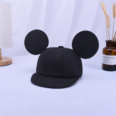 Mickey Mouse Hat Children's Woolen Hood Baby solid Color Baseball Hat black Diameter54cm-56cm