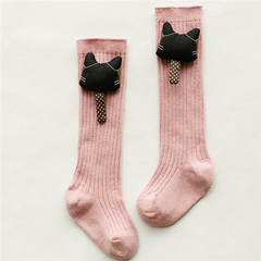 Girls' all-cotton knee-length stockings cute animal heads baby socks Pink cat 0-1 years old