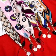 Silk neck strap key chain pendant phone dangler necklace mobile accessory lanyard white mobile neck lanyard