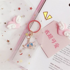 Keyrings automobile accessory mobile phone accessory bag accessory pendant keychains artifact love wing key pendant