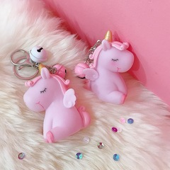Lovely horse soft plastic doll key chain vocal unicorn bag accessory car pendant artifact for women pink car pendant