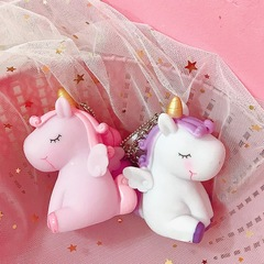 Lovely horse soft plastic doll key chain vocal unicorn bag accessory car pendant artifact for women purple car pendant