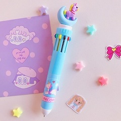Ten colors in one pen multi-function marking pen craft gift promotional ball point pen Light blue with moon Ten-color pen