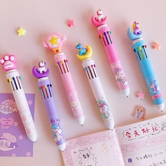 Ten colors in one pen multi-function marking pen craft gift promotional ball point pen White flamingo Ten-color pen