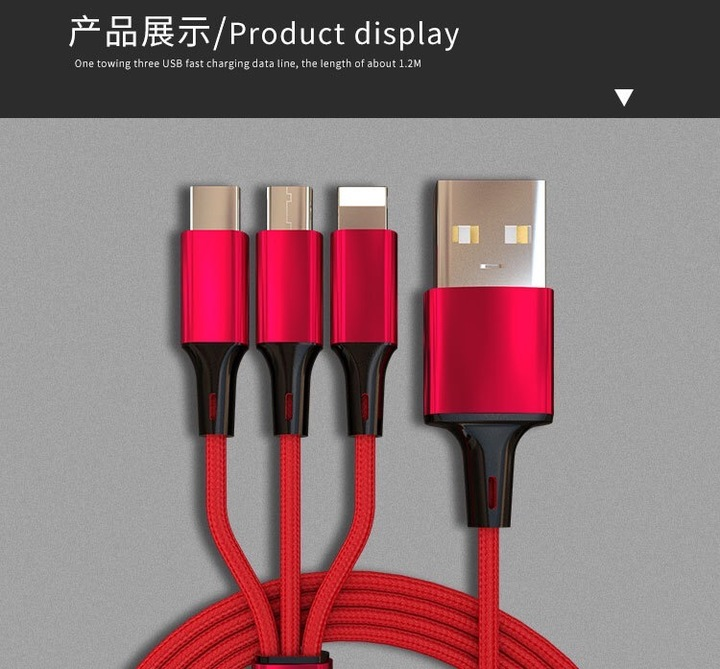 Android iPhone Type-C 3-in-1 High Speed Quick Charge Data Cable classical red 3-in-1 data cable