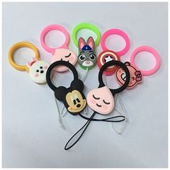 Hot sale silicone tough cartoon doll mobile phone strap adaptable for mobiles cards keys orange silicone finger strap