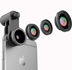 High Quality 3 in 1 Clip-On Mobile Camera Lens with Micro Fisheye Lenz Macro Wide Angle Classical Black