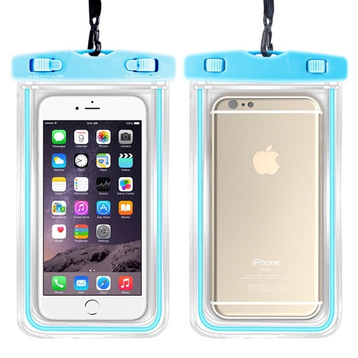 Super Wear Resistant  and Waterproof Mobile Phone Protection Outdoor Luminous Bags blue 6 inches