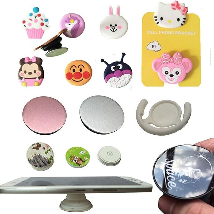 Mobile Phone Collapsible Grip Pop-socket Stand Pop-clip Car Mount for Phones, Pads and Tablets cartoon Collapsilble Grip&Stand