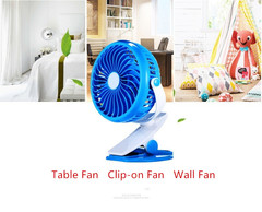 Electric Clip-on and Desk Fan USB Charging Fan for Home Room Office Merry Blue