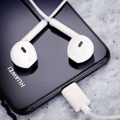 Type-C Wired In-Ear Super Mega Bass Earbuds Earphones Earpods for Huawei Mobile Phones pearl white