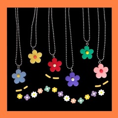 Lady necklace flower collarbone chain necklace for girls lovely accessories purple necklace