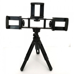 Multiple function phone live broadcasting three brackets foldable stand portable holder tripod Black 4-in-1 bracket and tripod