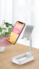 Adjustable Desktop Stand Storage Box Table Tops Mount Holder Retractable Bracket White Foldable Portable Bracket