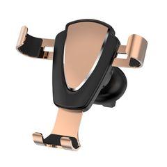 Universal Car Air Vent Phone Holder Gravity Linkage Mobile Phone Bracket Handfree Car Mount Gold 4''-7''