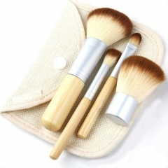 4PCS Natural Bamboo Handle Makeup Powder  Brushes Set Cosmetics Tools Kit With Bag as the picture