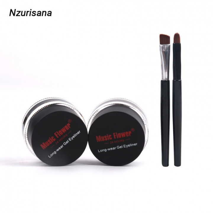 2 in 1 Gel Eyeliner Set Water Proof Smudge Proof  Work Great with Eyebrow Makeup Brushes Included black +deep  brown