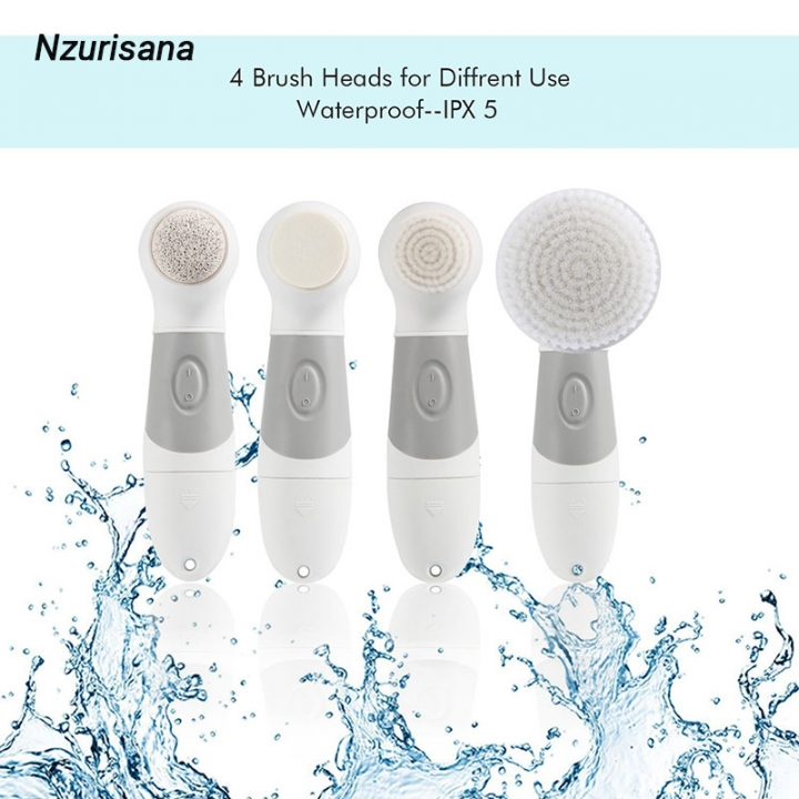 Four in One Blackhead Face Exfoliating Spin Cleanser Facial Cleansing Electric Brushes Kit White