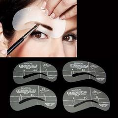 New 4Pcs Eyebrow Shaping Stencil Set Grooming Tools Drawing Card for Dashing Eyebrows as the picture