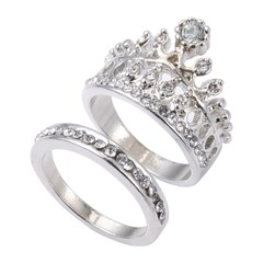 2pcs Crown Design Rhinestone Embellished Ladies Rings SILVER