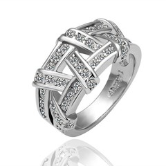 Fashion White Gold Plated Braid Alloy Ring US SIZE 8