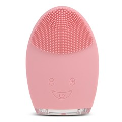 Rechargeable Silicone Facial Cleansing Brush Water-resistant Vibrating Massager LIGHT PINK