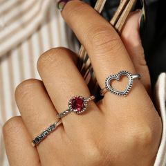 Fashion Heart-shaped Letters with Diamonds 3 Piece Set Ring Set Holiday Gift as picture 1.74cm