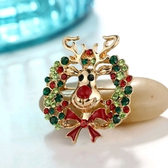 New Cartoon Elk Accessories Fashion Alloy Bow Color Diamond Brooch Pin